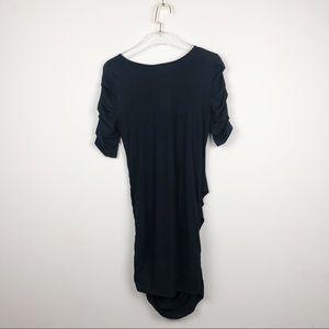 NWT Helmut Lang Black Jersey Drape Cap Slv Dress